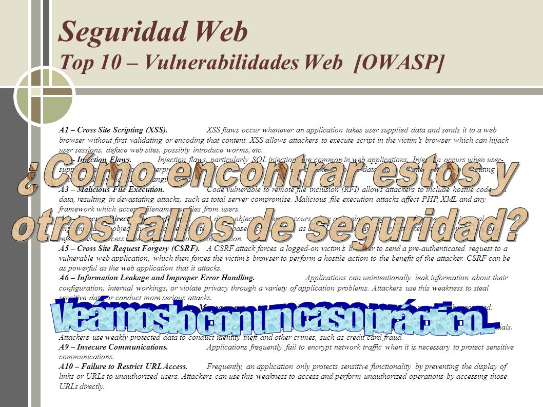 Seguridad Web Top 10 – Vulnerabilidades Web [OWASP]